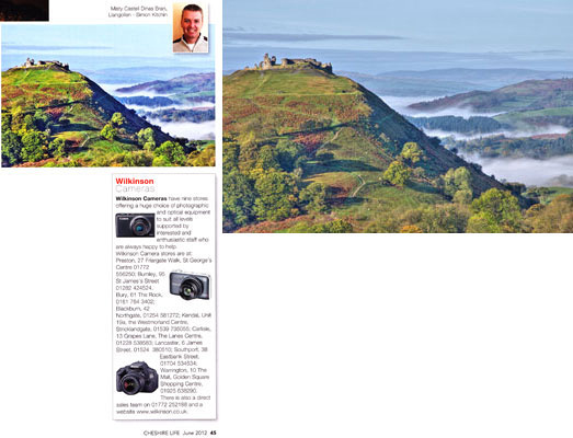 Cheshire life magazine june 2012 simon kitchin llangollen catell dinas bran