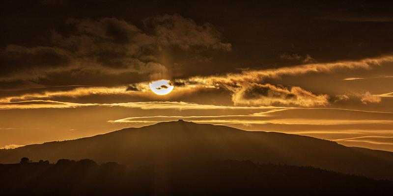 moel famau sunset winter evening north wales clwydian hills