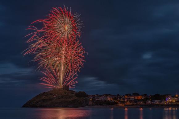 criccieth castle fireworks display photo summer festival