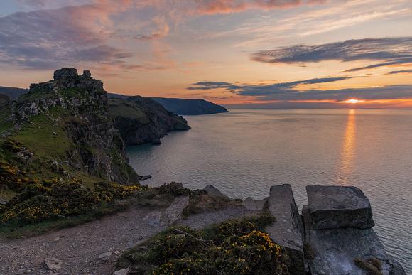 Valley of rocks sunset North Devon near Lynton