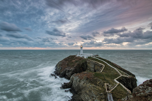 south stack lighthouse stormy seas anglesey north wales photo