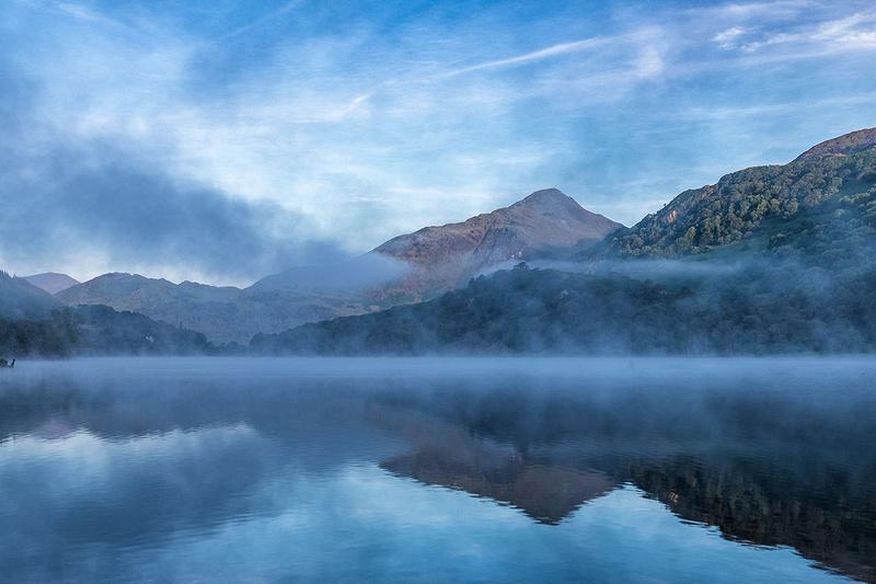 summer misty morningllyn gwynant snowdonia north wales photo