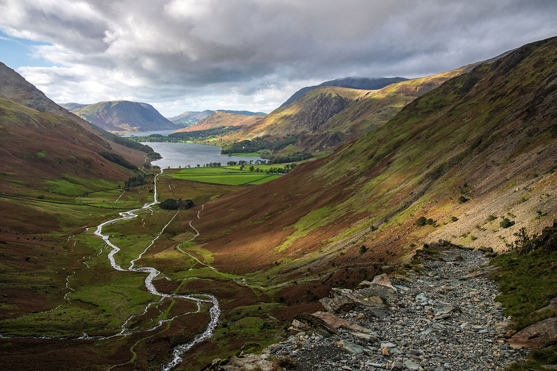 buttermere in autumn colours from warnscale beck in the lake district