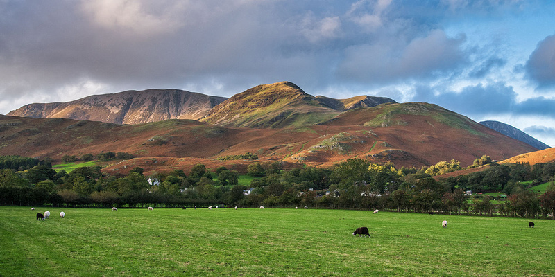 Grasmoor & Whiteless Pike late evening autumn colours near Buttermere