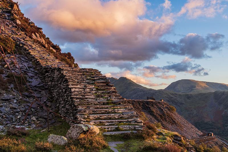 Quarrymens slate stairs dinorwic quarry near llanberis snowdonia