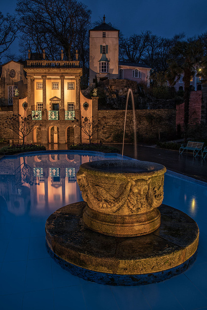 portmeirion village north wales at evening