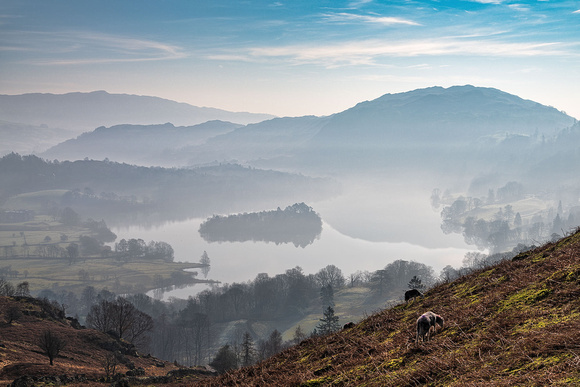 Grasmere misty morning in the Lake District Cumbria