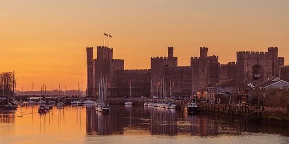 caernarfon castle sunset north wales photo CADW