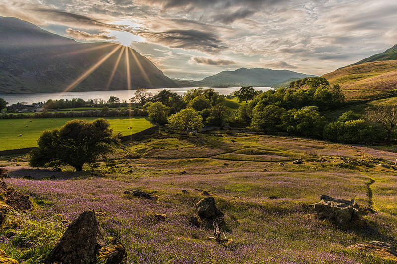 Rannerdale Knots bluebells sunset in the Lake District