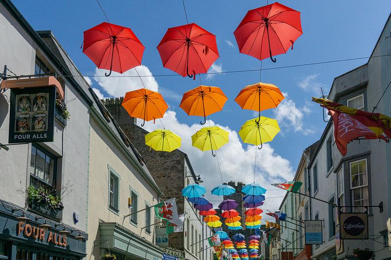 caernarfon umbrella art installation