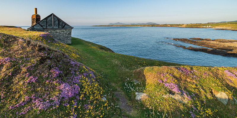 Porth Ysgaden fishermans cottage at sunset on the Llyn Peninsula