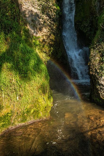 Dyserth waterfall rainbow photo North Wales
