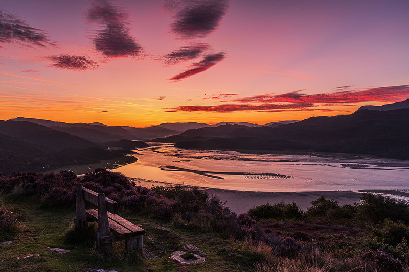 Panorama Barmouth sunrise Mawddach Estuary photo