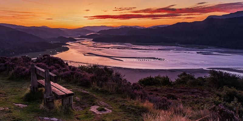 Barmouth sunrise Panorama walk Mawddach Estuary photo