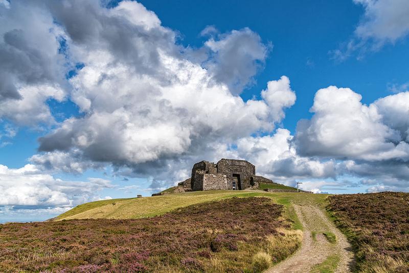 Jubilee tower moel famau summit clwydian hills north wales heather clad