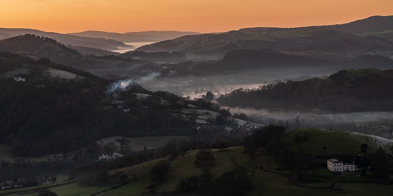 Misty Dee Valley sunset from Llangollen