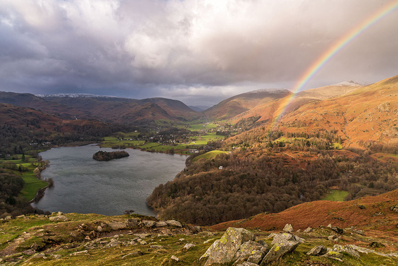 Rydal water rainbow loughrigg fell summit lake district photo ambleside mountains