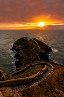 south stack lighthouse sunset anglesey north wales photo