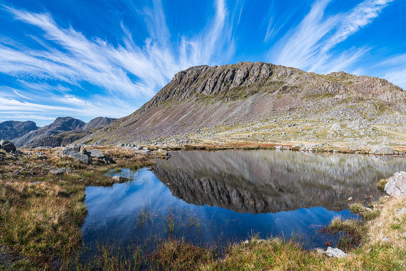 Bowfell reflection from Crinkle Crags in Great Langdale Lake District