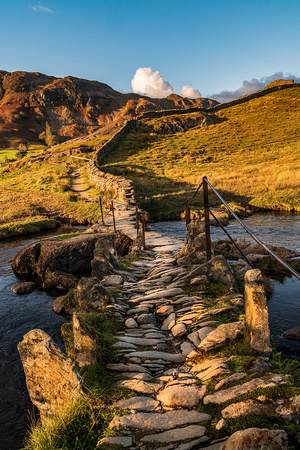 slaters bridge little langdale lake district autumn sunset