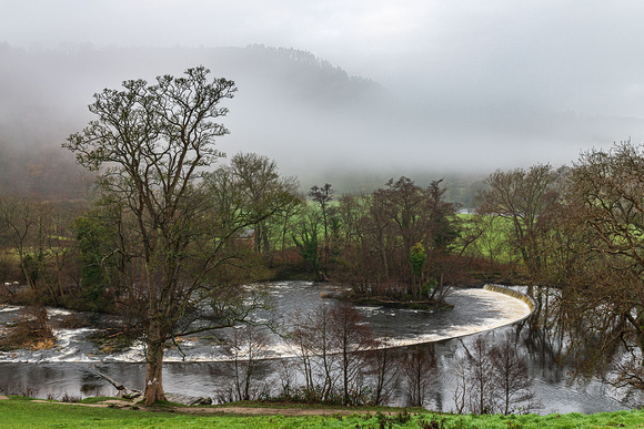 Horseshoe Falls Llangollen misty morning