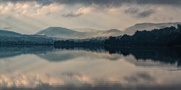 Misty morning Bala lake Llyn Tegid in Snowdonia