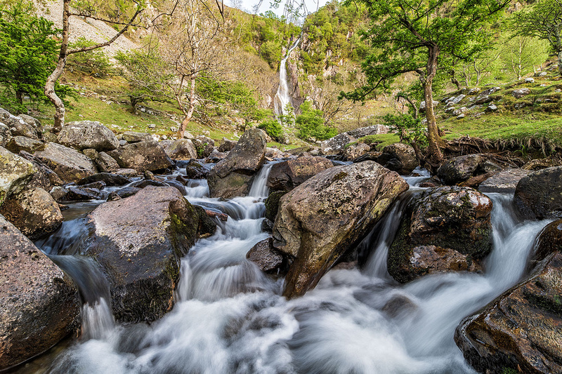 aber falls snowdonia waterfall north wales afon goch