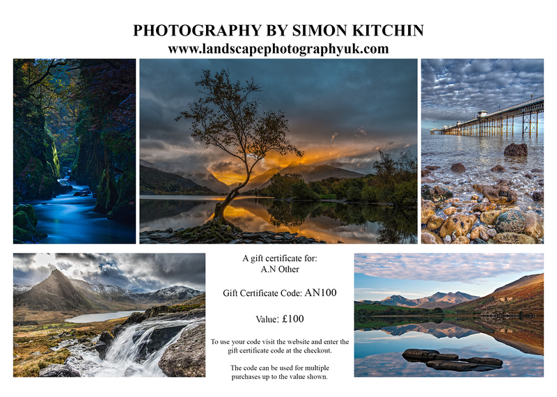 North Wales photography gift voucher by Simon Kitchin