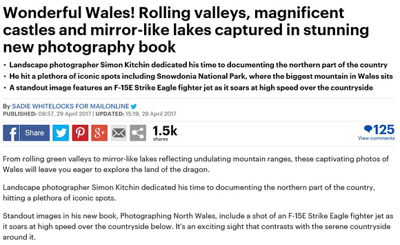 Photographing North Wales Mail Online article simon kitchin