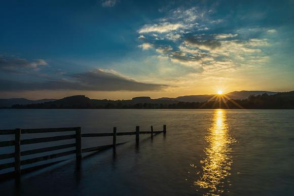 Bala lake sunset photo snowdonia north wales