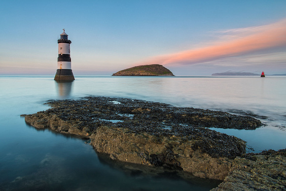 Penmon point lighthouse winter sunset photo anglesey north wales
