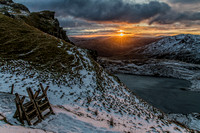 The horns snowdon pyg track walk snowdonia mountains snow north wales photo